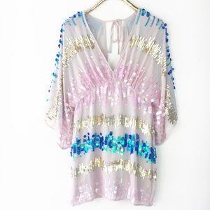 ASOS Sequin Kimono Dress Plunging Neck Back 6